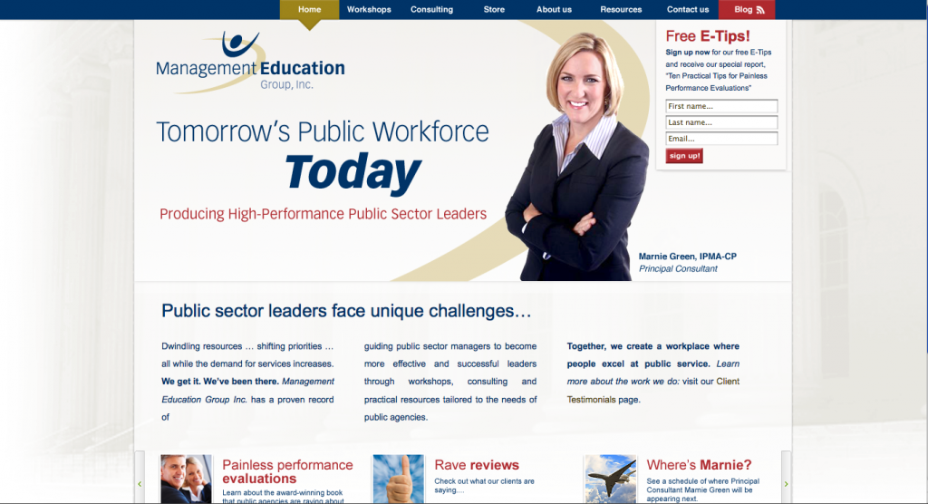 Management Education Group website design and programming