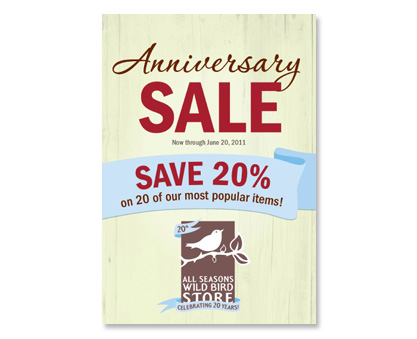 All Seasons Wild Bird Store Anniversary Sale cover