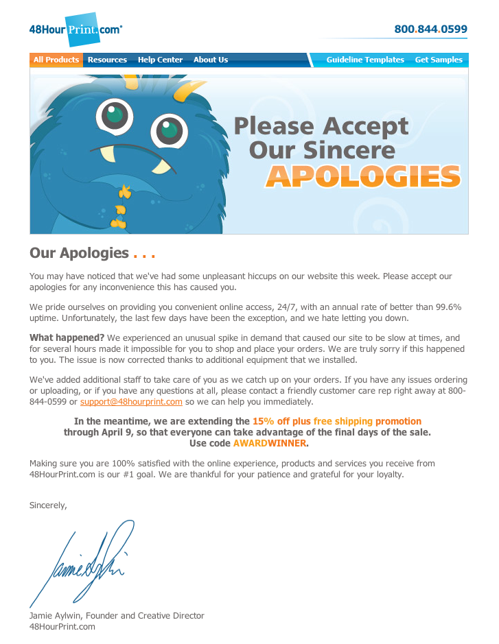 Effective apology email from 48HourPrint.com